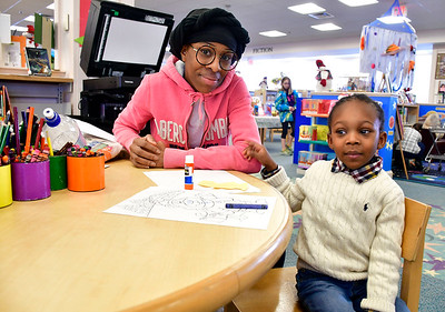 2/2/2019 Mike Orazzi | Staff Chrissa Blye and her son William King,4, while at the Bristol Public Library on Saturday.
