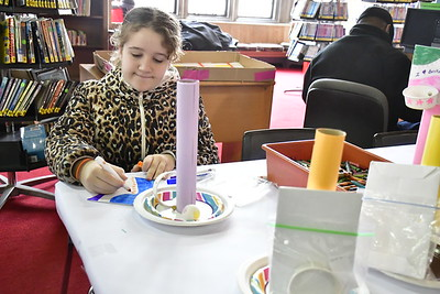 2/2/2019 Mike Orazzi | Staff Sarah Cameron,10, works on crafts while at the New Britain Public Library on Saturday.