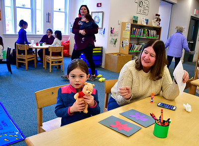 2/2/2019 Mike Orazzi | Staff Maryellen Holden and her grand daughter Piper Holden,4, while at the Bristol Public Library on Saturday.