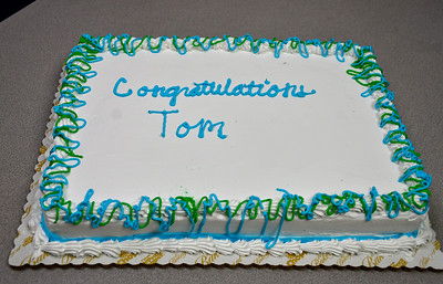 2/28/2019 Mike Orazzi | Staff A cake for the retirement of Bristol Police Captain Thomas Calvello, Administrative Services Bureau, at police headquarters on Thursday.