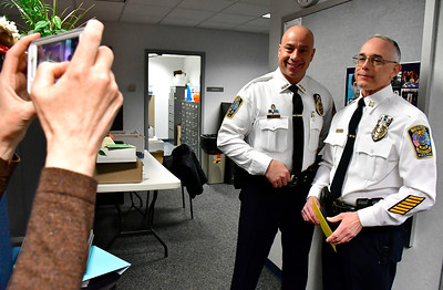 2/28/2019 Mike Orazzi | Staff Bristol Police Chief Brian Gould and retiring  Captain Thomas Calvello at police headquarters on Thursday.