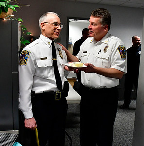 2/28/2019 Mike Orazzi | Staff The retirement of Bristol Police Captain Thomas Calvello, Administrative Services Bureau, at police headquarters on Thursday.