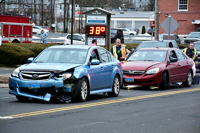 2/7/2019 Mike Orazzi | Staff The scene of a multi-car crash at the intersection of North Street (Route 6) and West Street in Bristol Thursday afternoon. No injuries were reported.