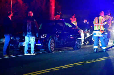 2/7/2019 Mike Orazzi | Staff The scene of a crash involving a motorcycle and a sedan at the intersection of Felice Road and Stafford Avenue Thursday evening. The rider on the motorcycle was transported from the scene with non-life threatening injuries.