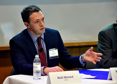 2/7/2019 Mike Orazzi | Staff Trane's Matt Menard talks about an energy efficiency project Bristol Hospital recently completed during a meeting with the Connecticut Association of Healthcare Executives Thursday evening.