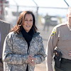 Left to right, Chief Administrative Officer for Butte County Paul Hahn, U.S. Sen. Kamala Harris and Butte County Sheriff Kory Honea stop for a brief chat with media before touring the Lake Oroville Dam area by helicopter in Oroville, Calif. Thurs. Feb. 23, 2017. (Bill Husa -- Enterprise-Record)