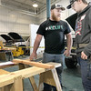 KEVIN HARVISON | Staff photo<br /> Pictured left, District Carpentry Competition Judge Robert Womack goes over some safety rules with McAlester Kiamichi Technology Center student Justin Foreman Thursday morning during the District Carpentry Competition held on the McAlester KTC Campus.