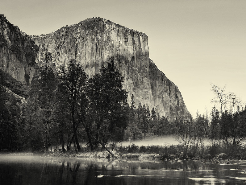 Yosemite in the late afternoon, in black and white