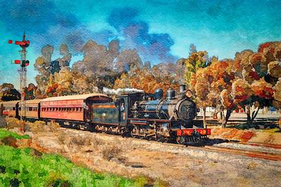 """""""Pichi Richi Heritage Locomotive and Railway."""" (Line and Wash. 2.)"""