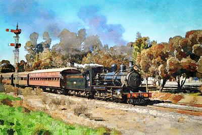 """""""Pichi Richi Heritage Locomotive and Railway."""" (Line and Wash 1.)"""