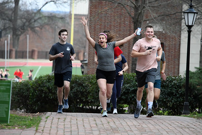 Excited students came jogging past the art installation on the Davidson College campus.