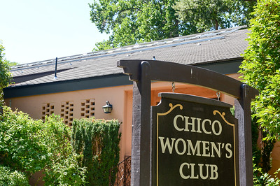 Solar panel framing lines the roof of the Chico Women's Club in Chico. (Matt Bates -- Enterprise-Record)