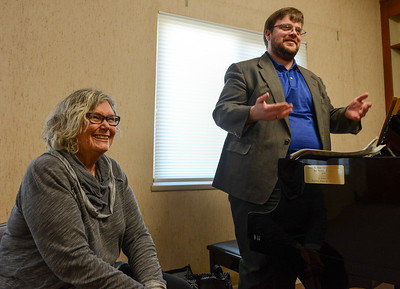 Sue Luallen and Matt Mitchell smile as they talk to Teri DuBose(not pictured) at First Christian Church on Thursday, February 13, 2020, in Chico, California. (Matt Bates -- Enterprise-Record)