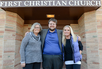 From left to right, Sue Luallen, Matt Mitchell and Teri DuBose stand in front of the entrance to First Christian Church on Thursday, February 13, 2020, in Chico, California. (Matt Bates -- Enterprise-Record)