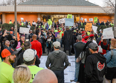 Pro- and anti-needle distribution protesters clash Tuesday outside the Chico City Council Chambers in Chico. (Matt Bates -- Enterprise-Record)