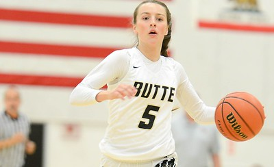 Butte College's Chloe Mayer dribbles up court  during the Roadrunners' game against American River Nov. 20, 2019, in Butte Valley. (Matt Bates -- Enterprise-Record)