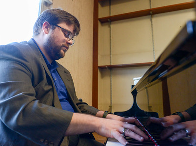 Matt Mitchell plays the piano at First Christian Church on Thursday, February 13, 2020, in Chico, California. (Matt Bates -- Enterprise-Record)