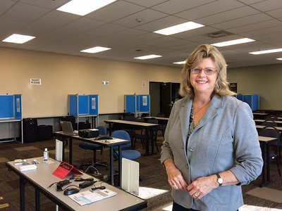 Butte County elections official Candace Grubbs stands in the training room at the elections office in Oroville CA on Jan. 31, 2019. (Laura Urseny -- Enterprise-Record)