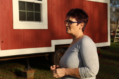 After her home burned and her son died, Tammie Strong is taking steps to move on from the Camp Fire, like moving into her tiny home Jan. 29 in Oroville. (Carin Dorghalli -- Enterprise-Record)
