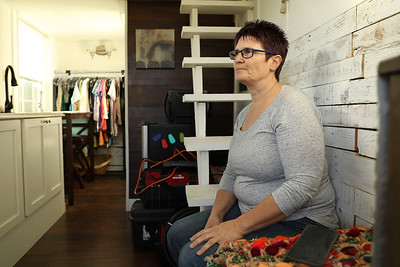 Tammie Strong talks Jan. 29 about steps she is taking to move forward, like moving in to her tiny house, after losing her son shortly after the Camp Fire to injuries she believes were tied to the evacuation. (Carin Dorghalli -- Enterprise-Record)