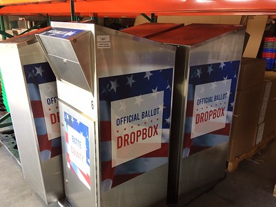Stored at the Butte County elections office in Oroville, drop boxes are being distributed this week through-out the county. (Laura Urseny -- Enterprise-Record)