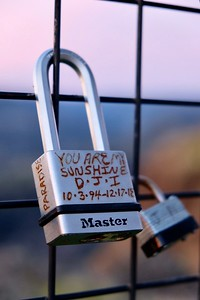 Tammie Strong placed a lock, seen Jan. 29 at Lookout Point on the Skyway, in memory of her son, Donovan James Iverson, who died shortly after the Camp Fire, psossibly because of injuries sustained during the evacuation. (Camille von Kaenel -- Enterprise-Record)