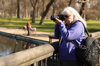 Chico Camera Club president Jean Miller of Chico photographs Sycamore Pool at One-Mile Recreation Area on Friday. (Carin Dorghalli -- Enterprise-Record)