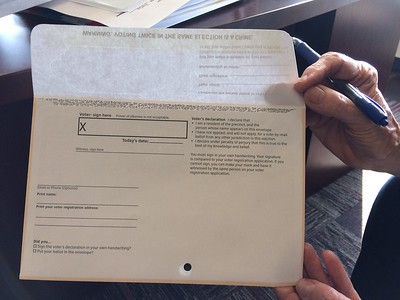 Butte County's mail in ballot for the March 3 election has a flap that will cover the signature box once it is filled out to insure privacy. (Laura Urseny -- Enterprise-Record)