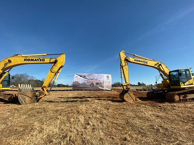 This photo is from the December 12, 2019 groundbreaking ceremony in the middle of a big field.