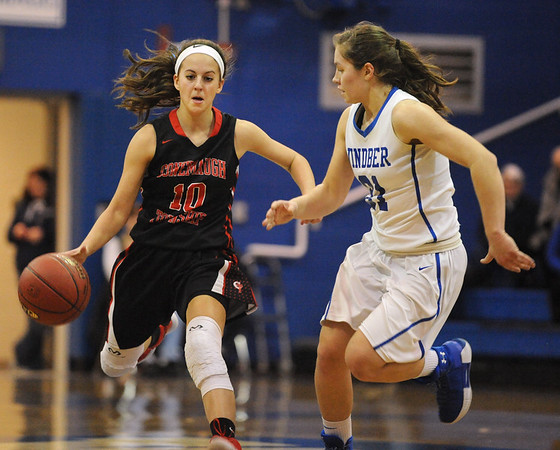 Conemaugh Township's Olivia Roman, left, tries driving by Windber's Jackie Toki during a PIAA District 5, Class AA playoff game in Windber, PA., Friday, Feb.23, 2018. Windber won 54-32.