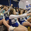 Windber cheerleaders pump up their team as they take on Conemaugh Township during a PIAA District 5, Class AA playoff game in Windber, PA., Friday, Feb.23, 2018. Windber won 54-32.