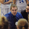 Windber coach Gary Pavlosky talks to his team during a time out during a PIAA District 5, Class AA playoff game against Conemaugh Township in Windber, PA., Friday, Feb.23, 2018. Windber won 54-32.