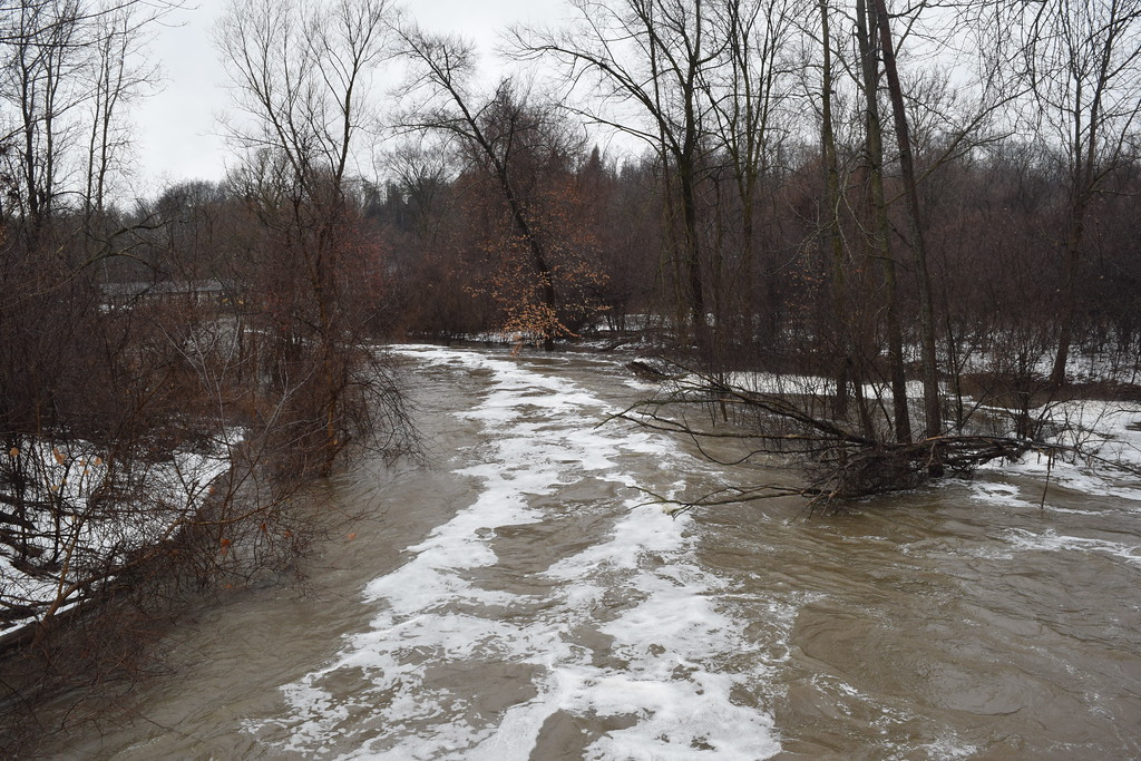 . The Rouge River overflows its banks and floods a park in Northville, Mich., on Tuesday, Feb. 20, 2018. Most of Southeast Michigan is under a flood watch until Wednesday night. (Mark Cavitt/The Oakland Press)