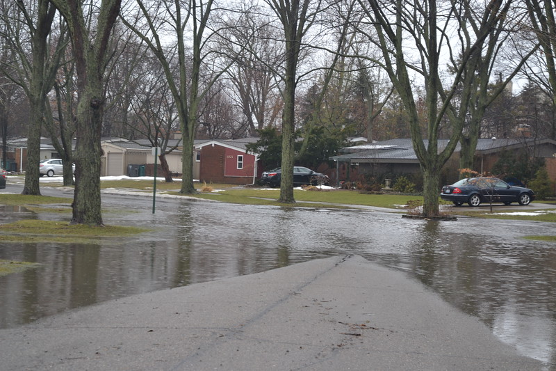 A neighborhood street is flooded in Troy, near Big Beaver and Adams roads. Anne Runkle / Digital First Media.