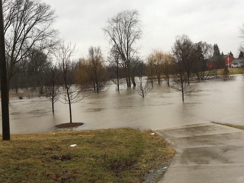 A flooded driveway and front yard of a home on east side of Romeo Plank Road south of Hall Road in Clinton Township. Jamie Cook / Macomb Daily