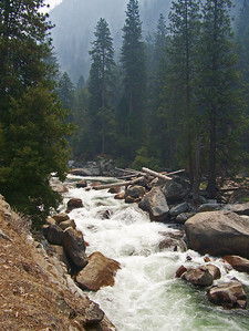 Most all of the waterfalls here empty into the Merced river.  It almost becomes a waterfall itself.