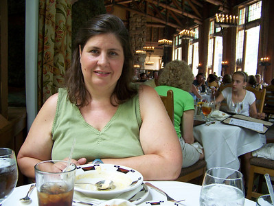 Even though this is one of the fanciest restaurants anywhere, we ordered . . .  Hamburgers!  They were really good!  Pam had some soup with hers.  Kevin had a salad with his.