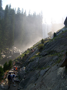 "There were a lot of those steps.  We didn't count.  From here we are getting our first ""close"" glimpses of the waterfall."