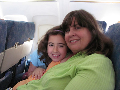 Pam and Anna on Flight to Yellowstone Vacation