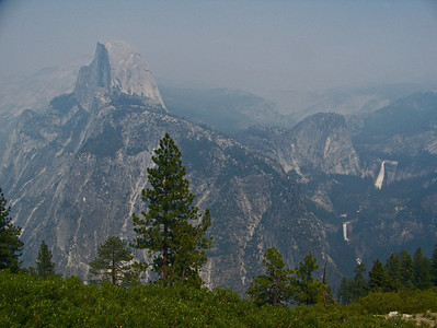 Later we went to a place called Glacier point which is a scenic overlook of Yosemite.  In this picture you can see the giant rock, Half Dome.  Over to the right you can see two waterfalls.  We are going to try to hike to those if we can.  You can see how hazy the smoke from the forest fire has made the sky.  None of your pictures look any better than this.