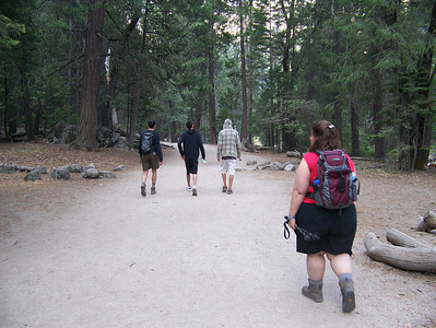 Day 5 - Today were are hoping to see more waterfalls.  Here Pam is setting off.  At this point the plan was to hike about 3/4 of a mile and see if we can see the Vernal Fall and then decide what to do from there.  Little did we know . . .