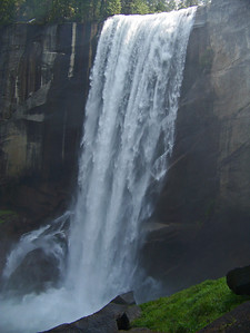 Vernal Fall has a drop of 317 feet.  That's about half as high as the St. Louis arch.