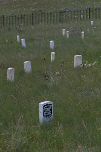 Yellowstone Vacation - Grave markers at Little Bighorn National Monument  (including General George Armstrong Custer)