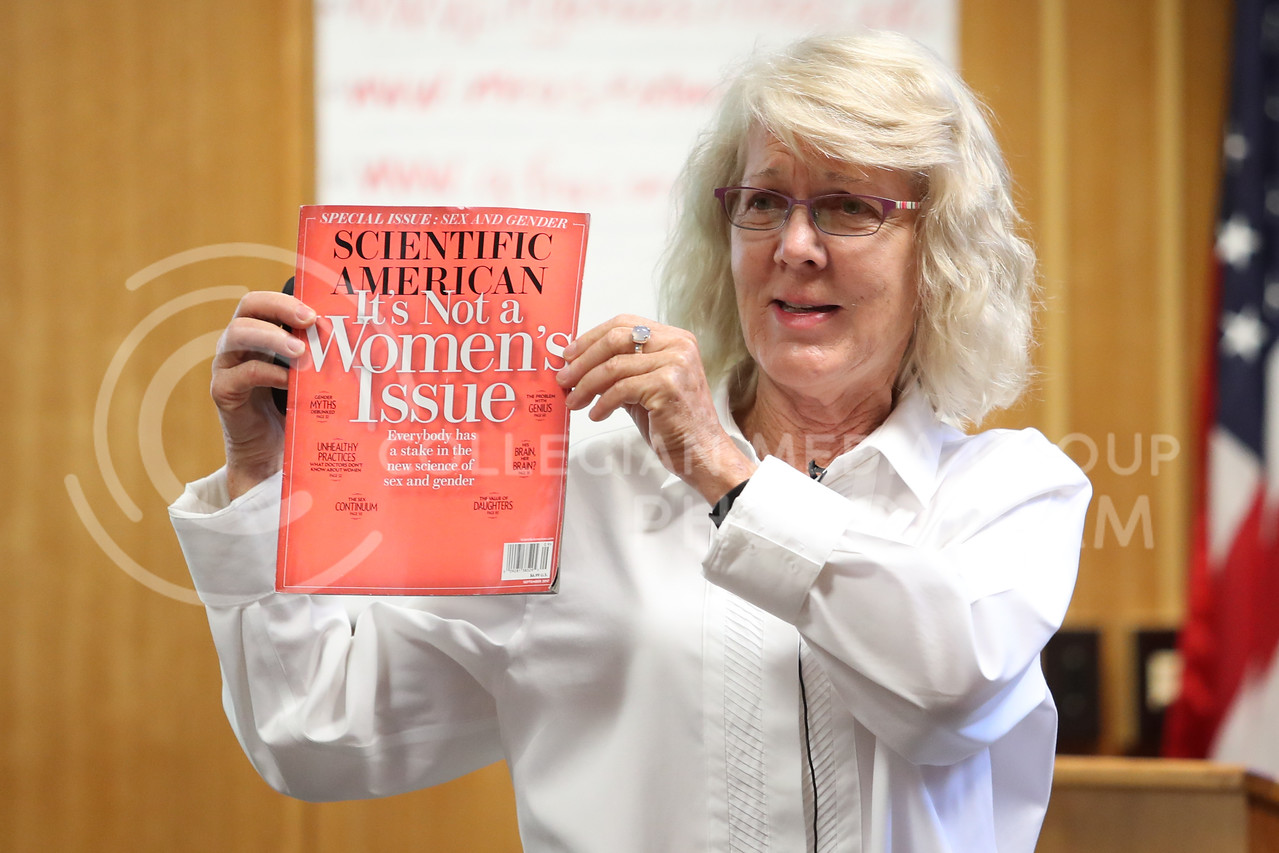 MANHATTAN, KANSAS - SEPTEMBER 28: Dr. Kathleen holds up a Scientific American magazine while discussing gender concepts at a Feed The Future Conference at Kansas State University on September 28, 2017. (Photo by Cooper Kinley)