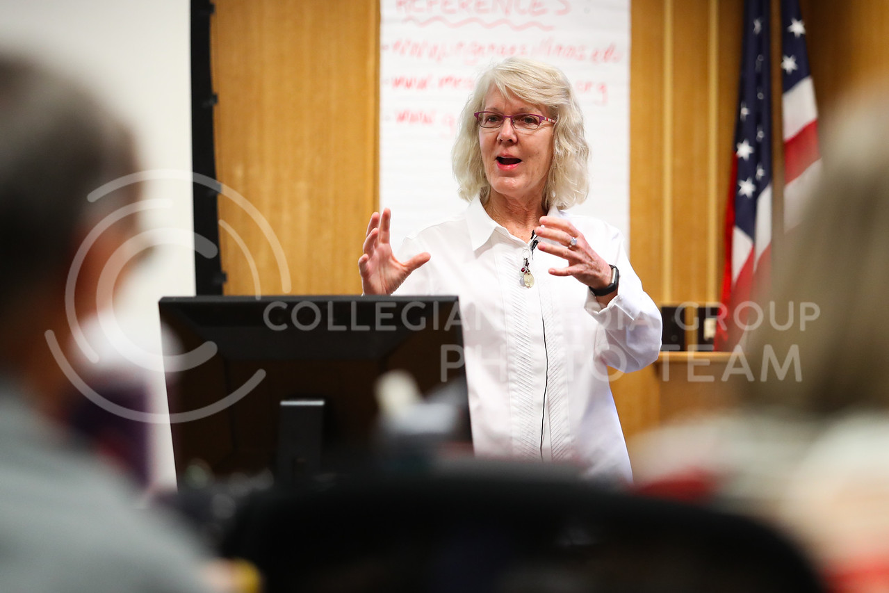 MANHATTAN, KANSAS - SEPTEMBER 28: Dr. Kathleen Colverson speaks at a Feed The Future Conference at Kansas State University on September 28, 2017. (Photo by Cooper Kinley)