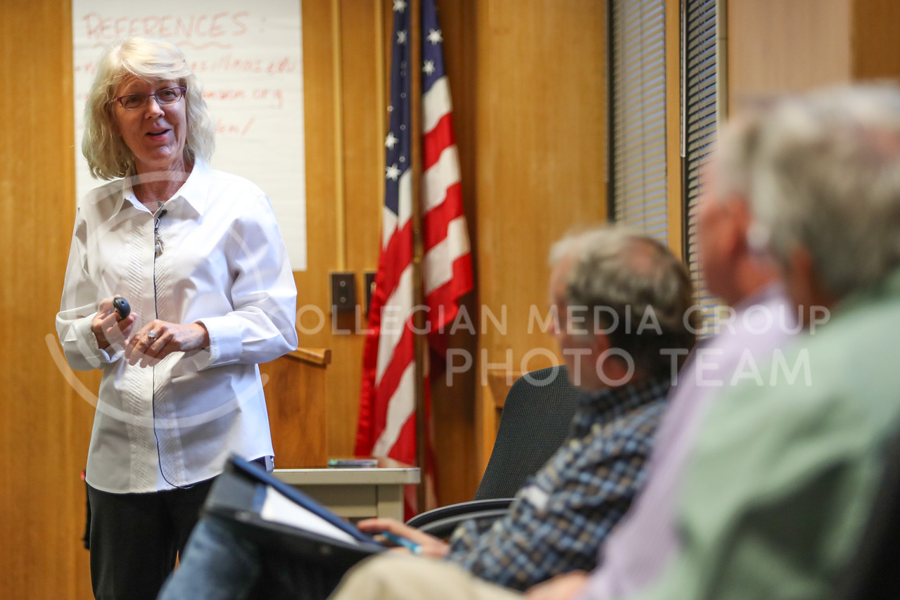 MANHATTAN, KANSAS - SEPTEMBER 28: Dr. Kathleen Colverson addresses an audience member's question at a Feed The Future Conference at Kansas State University on September 28, 2017. (Photo by Cooper Kinley)