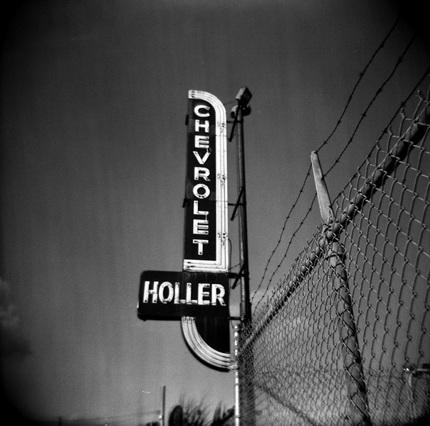 An abandoned car lot, shot with a Holga on Fuiji b&w asa 400