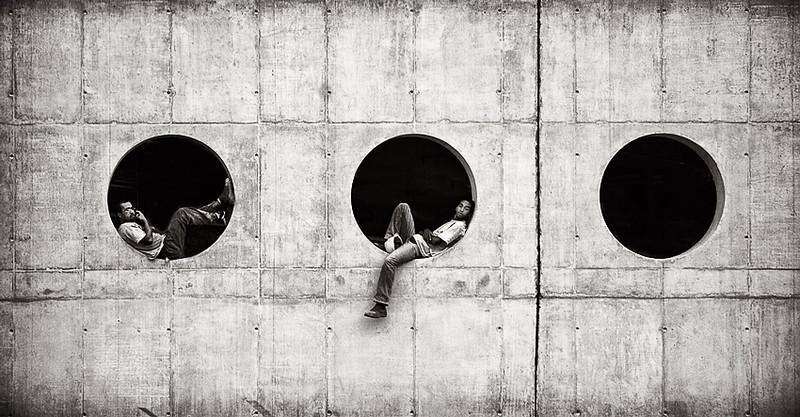 Construction workers take a break in Sao Paulo, Brazil