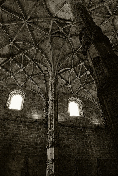 From a cathedral in Lisboa. I added grain (noise) and sepia until it sort of reminded me of a woodcut.