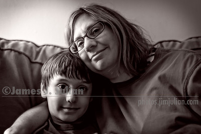 Mommy and Rocco on the Couch BW
